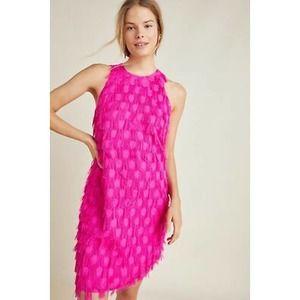 Roxie Textured Shift Dress Anthropologie Pink